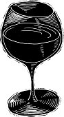 Wine glass reverse ink style, black and white - vector illustration