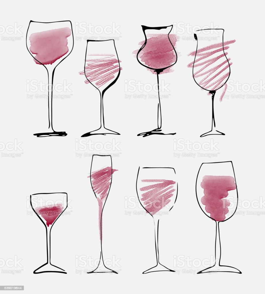 Wine glass set - collection sketched watercolor wineglasses and silhouette vector art illustration
