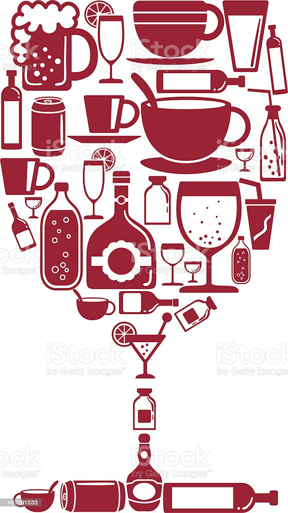 Wine glass shape with beverage icon royalty-free stock vector art