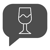 Wine glass speech bubble solid icon. Talk to drink wine chat with glassware glyph style pictogram on white background. Alcohol beverage signs for mobile concept and web design. Vector graphics