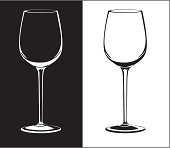 wine glass against black and white background