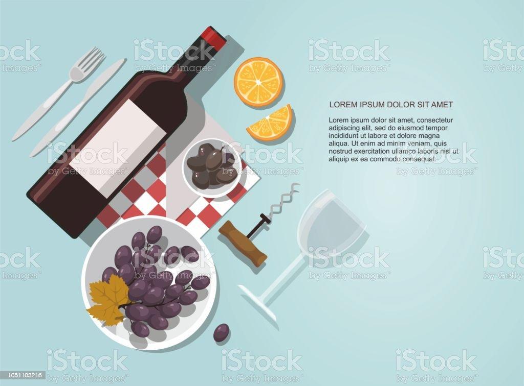 青の背景にワインのグラスは、ワインのボトル、オリーブ、ブドウ組成物。 ベクターアートイラスト