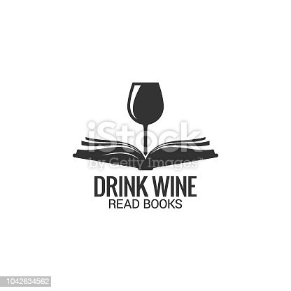 Wine glass with book concept. Drink wine read book on white background 8 eps
