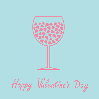 Wine Glass With Hearts Inside Love Card In Flat Design Stock Illustration Download Image Now Istock