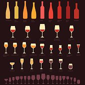 vector red and white wine glasses and bottle types, alcohol, drink isolated icons
