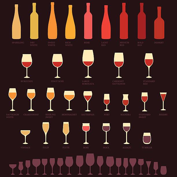 Wein-Gläser und Flaschen Arten, – Vektorgrafik