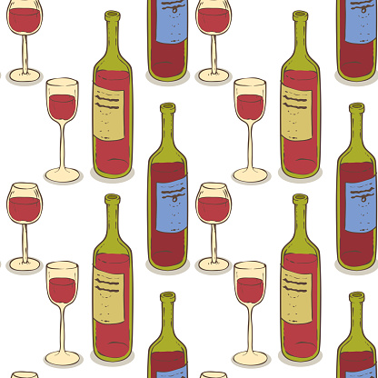 Wine Glasses and Wine Bottles Seamless Pattern