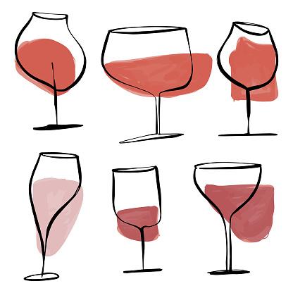 Wine glasses drawings