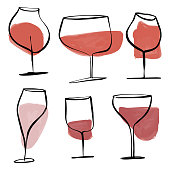 Vector illustration of a collection of wine glasses drawings. Perfect for design projects, social media backgrounds, holidays greeting cards, celebrations and business ideas and concepts.