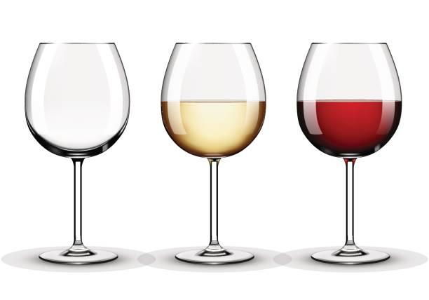 ワイングラス - 空、赤ワインと白ワイン - マスカット イラスト点のイラスト素材/クリップアート素材/マンガ素材/アイコン素材