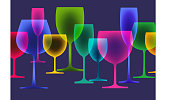 Wine glasses using overlays and transparencies.
