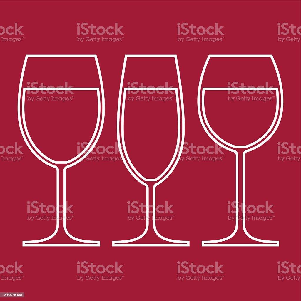 Wine Glasses vector art illustration