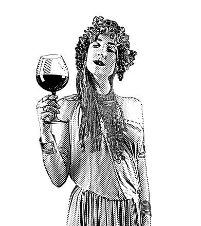 Wine Goddess drinking glass of wine
