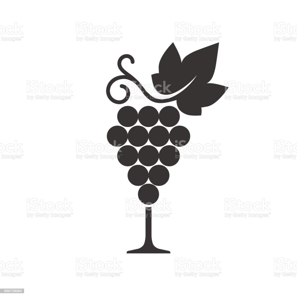 Wine grape icon vector art illustration