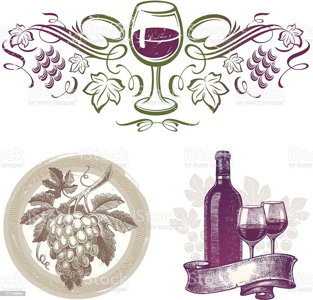 Wine & grape vintage emblems royalty-free stock vector art