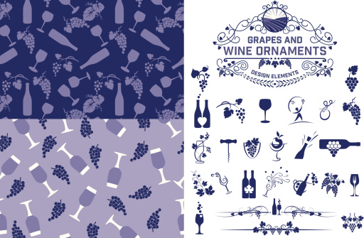 Wine Grapes Design Elements And Patterns
