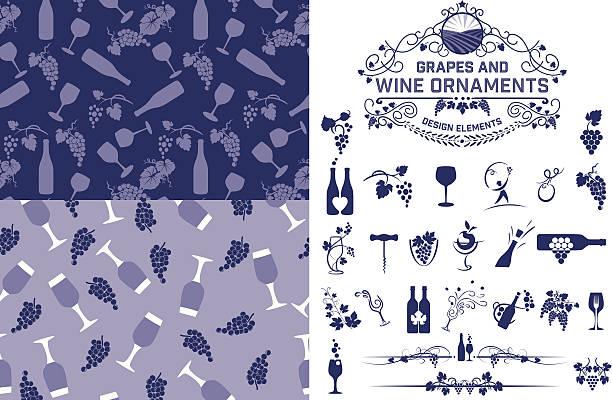 bildbanksillustrationer, clip art samt tecknat material och ikoner med wine grapes design elements and patterns - vindruva