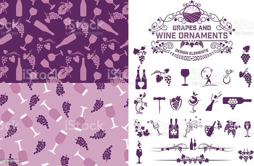 Wine Grapes Design Elements And Patterns vector art illustration