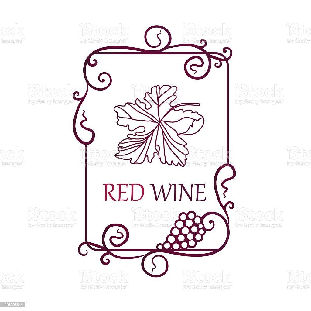 Etichetta Vino E Uva Foglia Sfondo Immagini Vettoriali Stock E