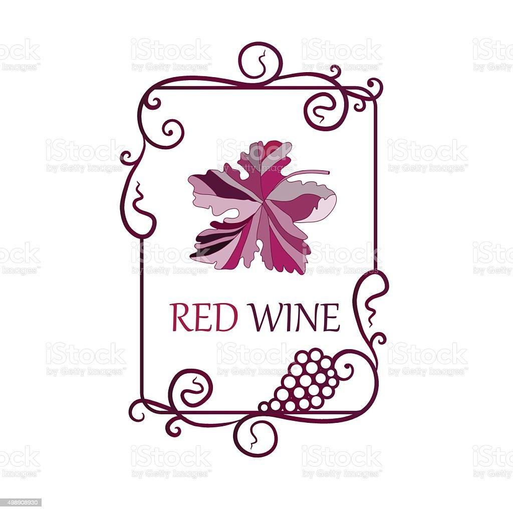 Etykiety Tło Z Liści Winogron Do Produkcji Wina Stockowe Grafiki