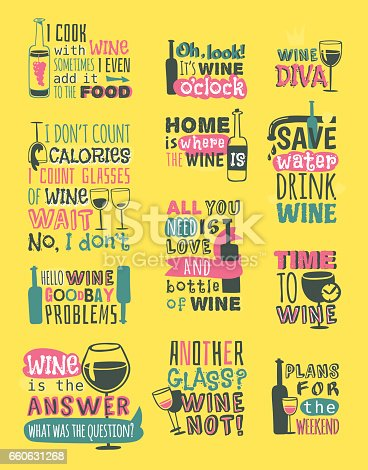 Set of hand drawn natural badges and labels for wine isolated. Vector illustration restaurant alcohol menu sign. Drink banner graphic vineyard emblem.