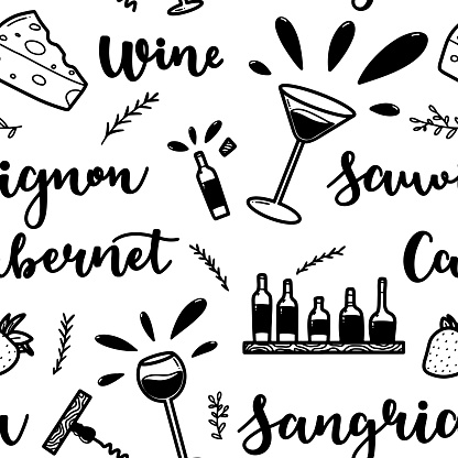 Wine hand drawn seamless pattern with wine glass, cocktail glass, cheese, basil, strawberry and herbs. Design for menu, bar, restaurant or kitchen.
