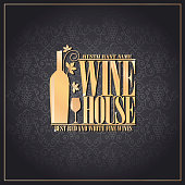 Wine house best red and white fine wines chalkboard background.Vector illustration
