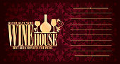 Wine House violet long menu.Vector illustration