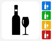 Wine Icon Flat Graphic Design