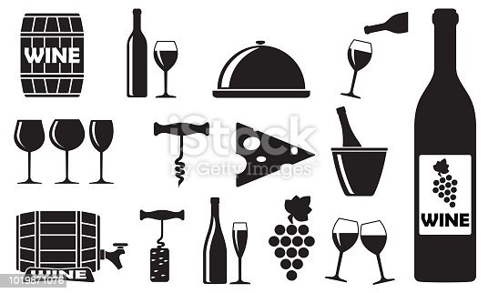 Wine and winery icons with bottle, opener, glass, grape, barrel. Design elements for restaurant, food and drink. Vector illustration.