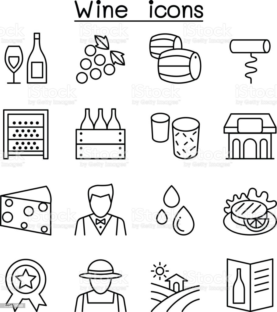 Wine icon set in thin line style vector art illustration