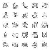 Wine, icon set. Ingredients, production and consumption, linear icons. Line with editable stroke