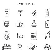 Vector of Wine Icon Set Outline Grey Basic
