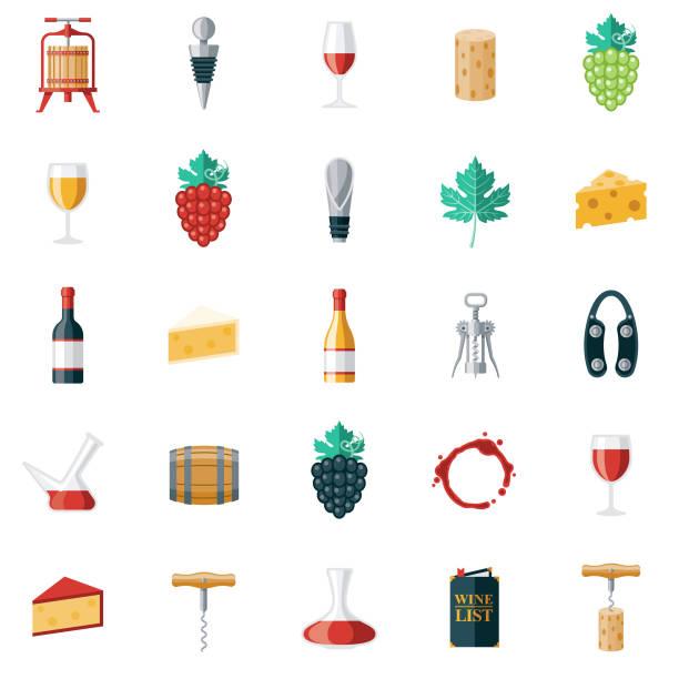 bildbanksillustrationer, clip art samt tecknat material och ikoner med vin ikon uppsättning - vitt vin glas