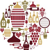 A set of wine themed icons. See below for a repeat pattern of this image.