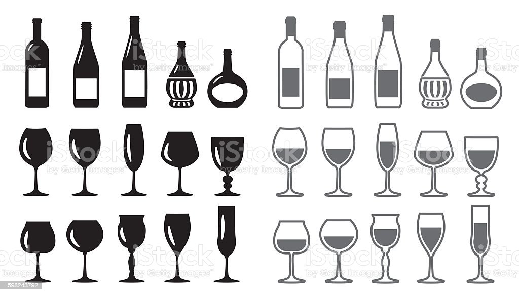 Wine Icon set - Illustration vectorielle