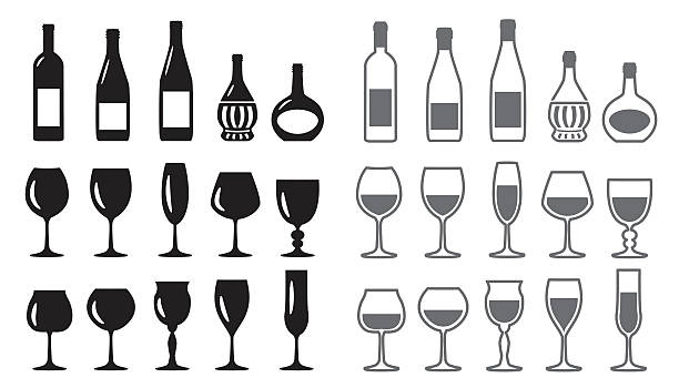 wine icon set - champagnerglas stock-grafiken, -clipart, -cartoons und -symbole