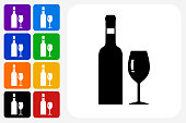 Wine Icon Square Button Set