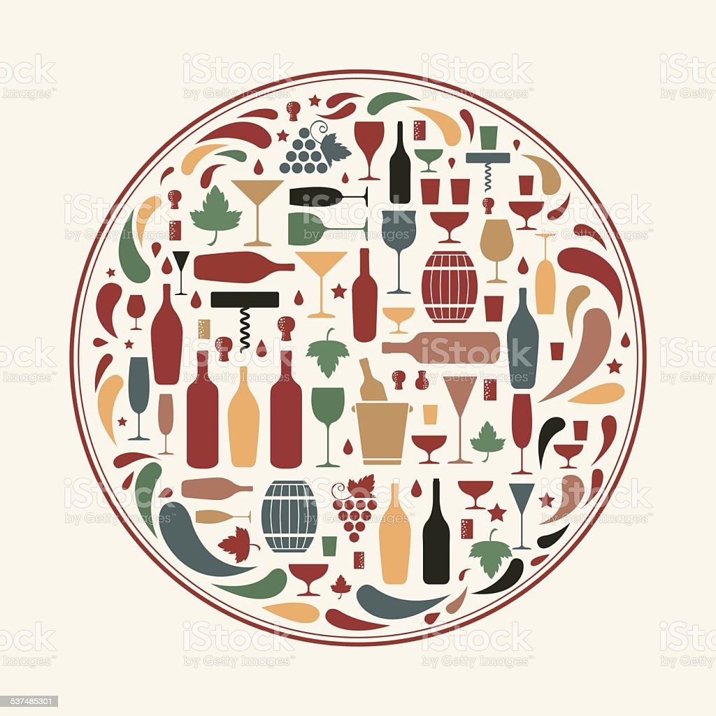 Wine icons as circle shape vector art illustration