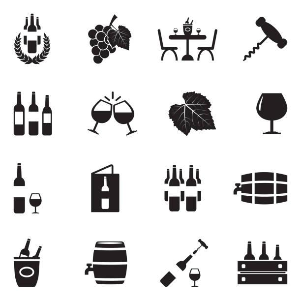 bildbanksillustrationer, clip art samt tecknat material och ikoner med vin ikoner. svart platt design. vektorillustration. - vindruva