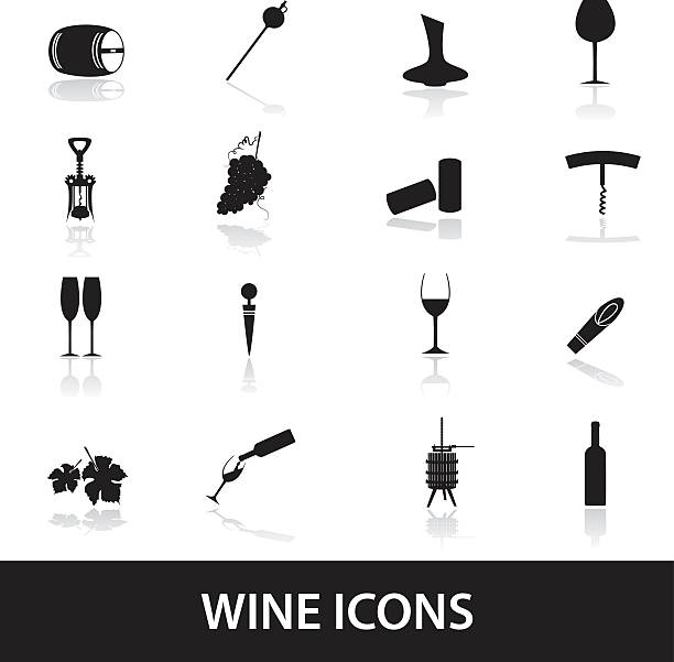 wine icons eps10 vector art illustration