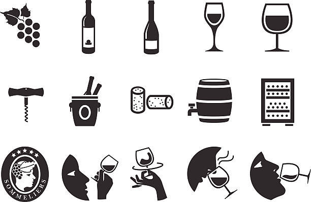 stockillustraties, clipart, cartoons en iconen met wine icons - illustration - kurk