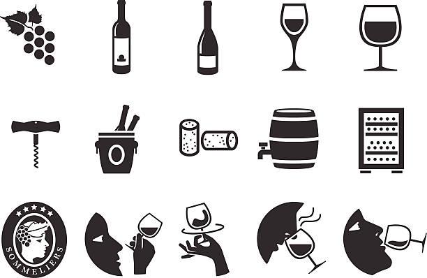stockillustraties, clipart, cartoons en iconen met wine icons - illustration - tasting