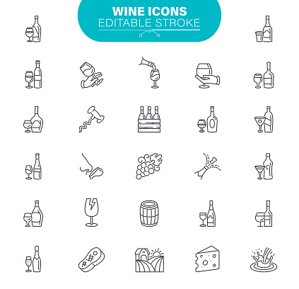 Wine Icons. Set contains such icon as Winery, Degustation, Bunch of Grapes, Glass of Wine