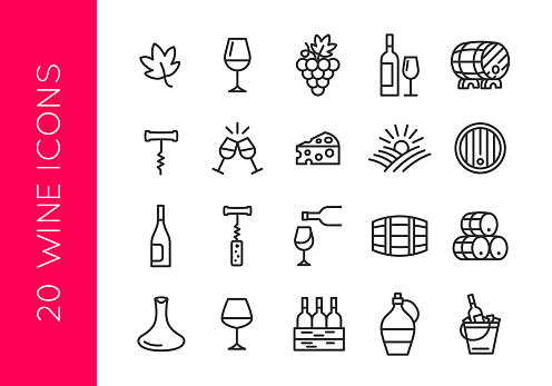 Wine icons. Set of 20 wine trendy minimal icons. Grape, Glass, Barrel, Cheese, Vineyard icon. Design signs for restaurant menu, web page, mobile app, packaging design. Vector illustration