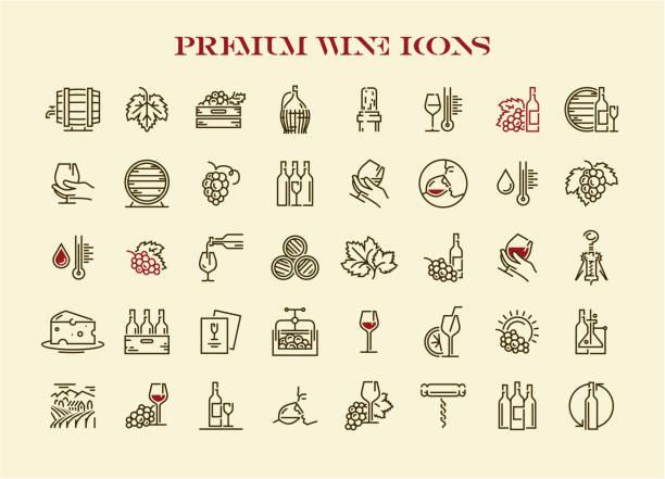 stockillustraties, clipart, cartoons en iconen met wijn icons set. premium kwaliteit wijn icons collectie. - tasting