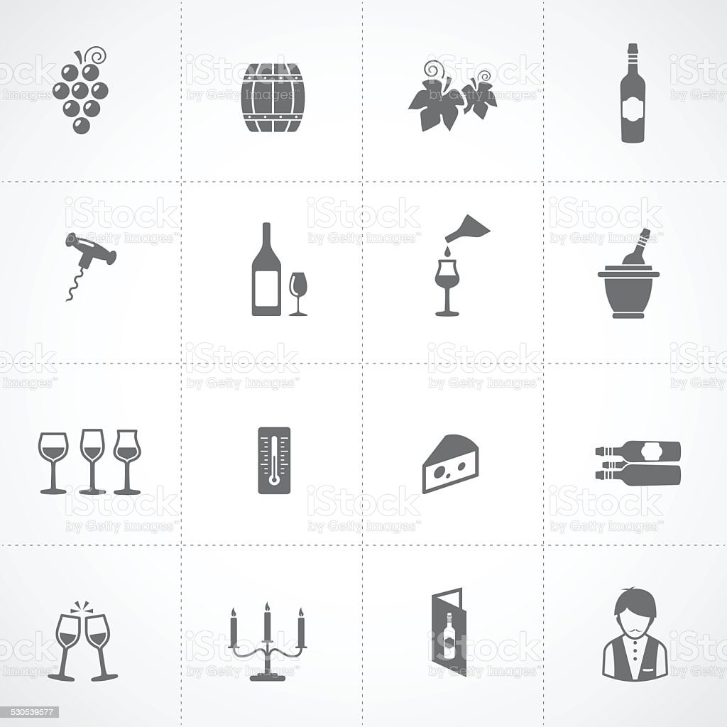 Wine icons set vector art illustration
