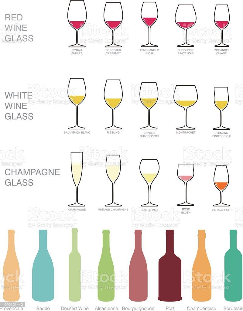 Wine icons set. wine bottles and glasses for wine. vector art illustration