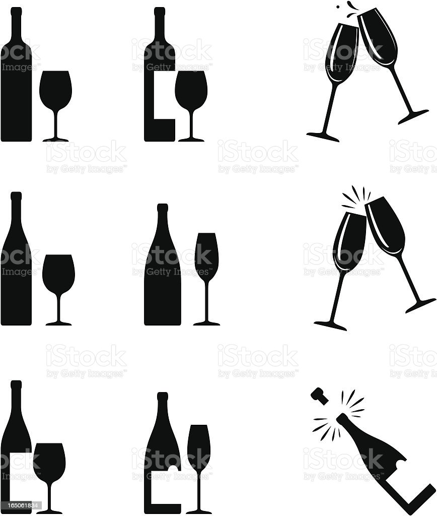 wine icons vector art illustration