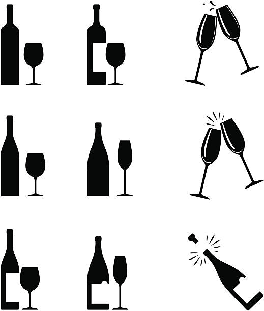 illustrations, cliparts, dessins animés et icônes de icônes de vin - champagne